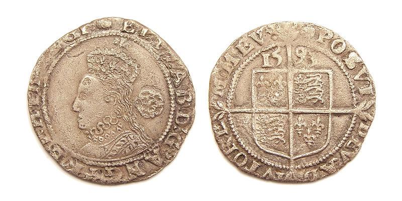 1593 Sixpence Elizabeth I.