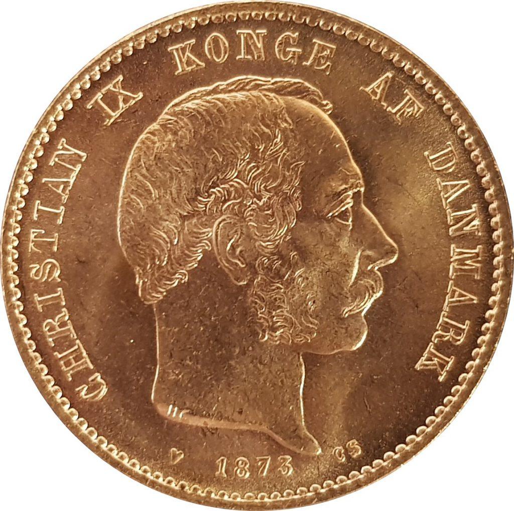 1873 Danish 20 Kroner Obverse (image: M J Hughes Coins)