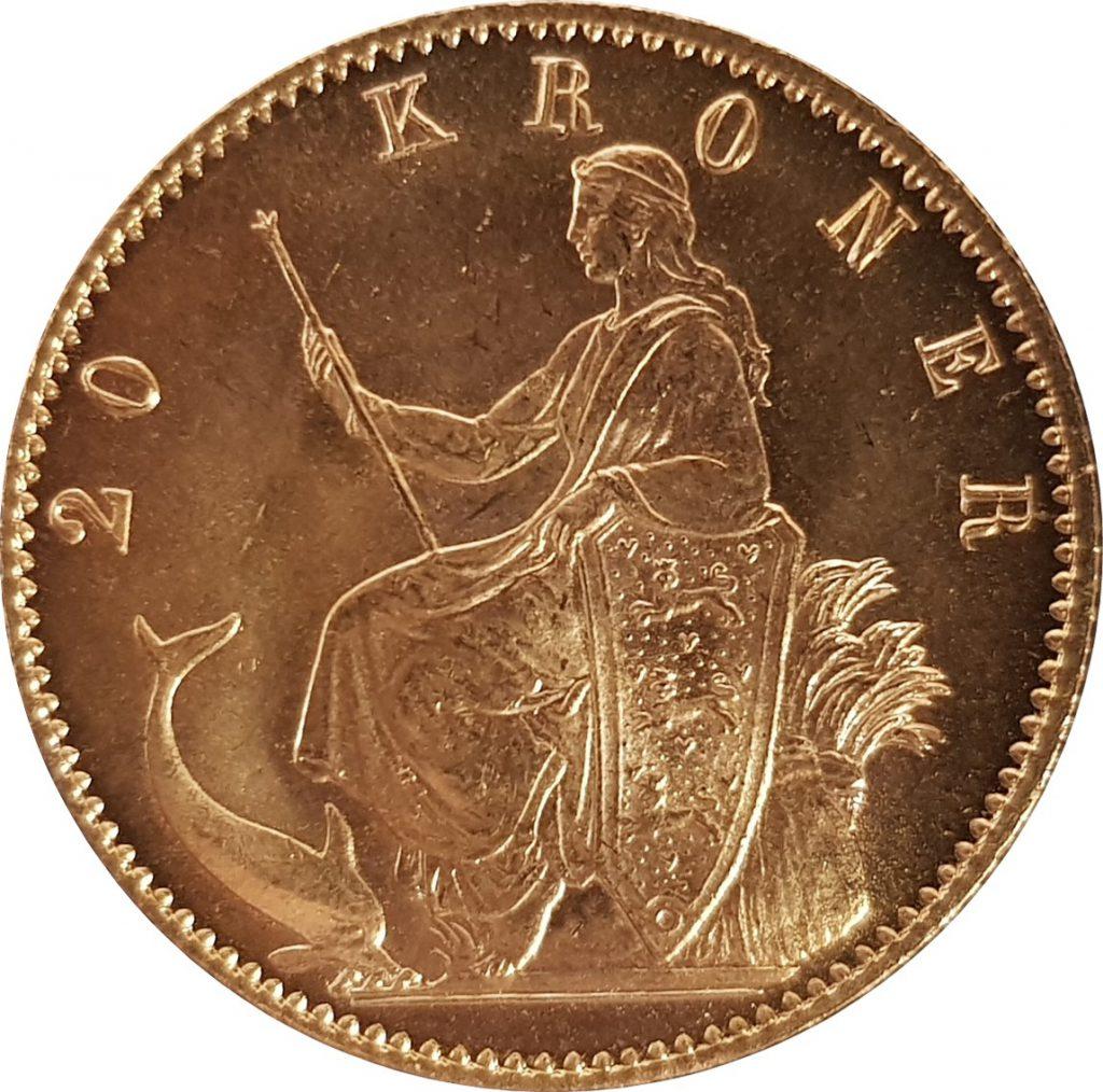 1873 Danish 20 Kroner Reverse (image: M J Hughes Coins)