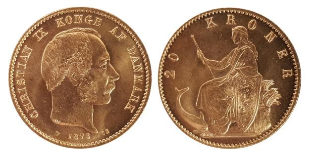 1873 Danish 20 Kroner (image: M J Hughes Coins)