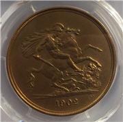 1902 King Edward VII Gold Matt Proof Five Pounds Reverse. Image: M J Hughes Coins