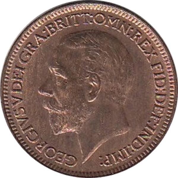 1928 Farthing George V Obverse