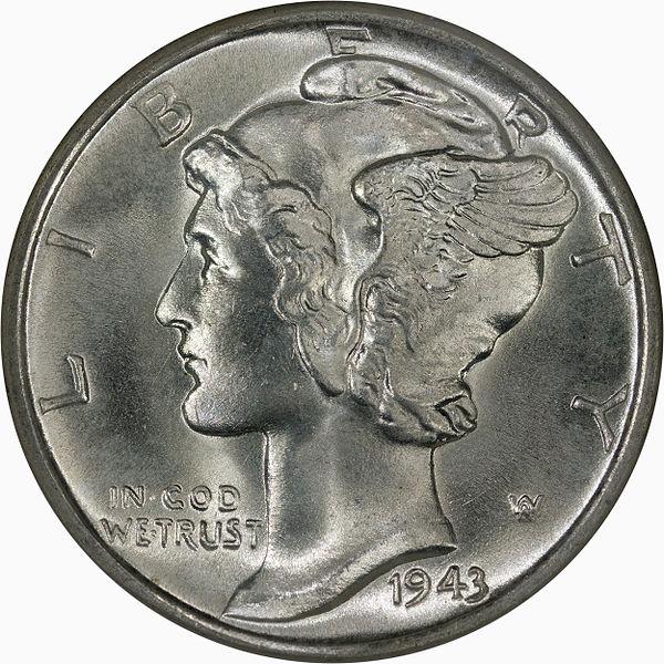 1943D Mercury Dime Obverse