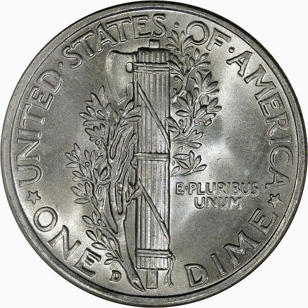 1943D Mercury Dime Reverse