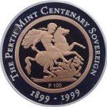 1999 Perth Mint Centenary Gold Proof Bi-metallic Sovereign (Reverse)